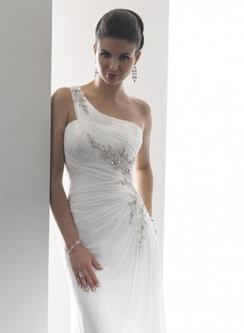 2012 Simple New One Shoulder Empire Waist Beading Chiffon Lace-up Sweep Train Wedding Dresses