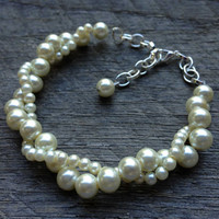 Ivory Pearl Bracelet Twisted Clusters on Silver or Gold Chain - Wedding, Bridal, Prom, Birthday Gift