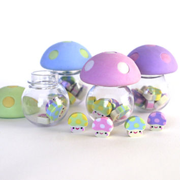 Mushroom Mini Erasers : Birthday Party Favors : Stubby Pencil Studio