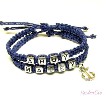 Ahoy Matey Bracelet Set, Dark Blue Macrame Hemp Jewelry with Silver Tone Anchor, Adjustable Size
