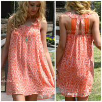Sierra Vista Tomato Tribal Dress