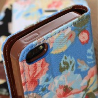 Elegant Flower and Deluxe Book Style Folio PU Leather Wallet with Magnet Design Flip Case Cover, Credit Card Holder for iPhone 5 / 5S / 5C and iPhone 4S (iPhone5-Blue)