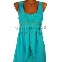 Robe courte drape GINGER lagon  | Victoria Kh