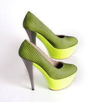 NEON PUMPS Neon yellow platform high heels with by NorTin on Etsy