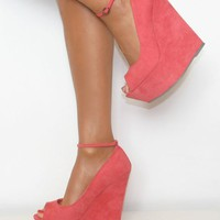 Coral Peep-Toe Wedges