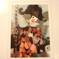 Rosina Wachtmeister Harlequin framed print silver foil edition signed | TheLivesAndLovesOfMaggieTheCat - Fine Art on ArtFire