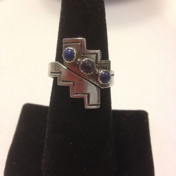 Lapis Amethyst Ring Navajo Sterling Silver Lazuli Blue Purple Cabachon Adjustable Size 8.5 Southwestern Native Tribal Vintage Jewelry Gift