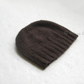Brown hat beanie for men, hand knit unisex wool textured winter gift