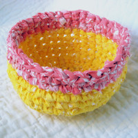 Pink Lemonade Rag Basket Crochet Fabric by NewEnglandQuilter