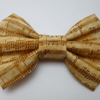 Gold and Cream Musical Notes Hair Bow Clip - Symphony Fabric Hair Accessory