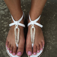 Crystal Ali Sandals - WHITE