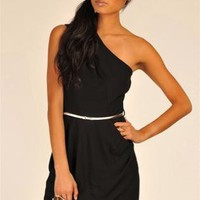 Black Little Black Dress - Black One Shoulder Mini Dress | UsTrendy