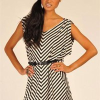 Black Mini Dress - Black&Ivory V Shape Stripe Mini | UsTrendy