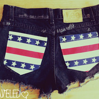 High Waisted Denim Shorts Amercian Flag Style by UnraveledClothing