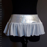 White Flirty Hologram Mini Skirt