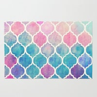 Rainbow Pastel Watercolor Moroccan Pattern Rug by Micklyn