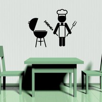 Barbeque BBQ Icon - Vinyl Wall Art Decal | VinylWallAccents - Housewares on ArtFire