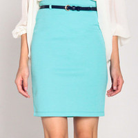 Knee Length Belted Pencil Skirt in Aqua