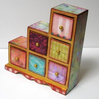 Wonderland Six Drawer Treasure Box | sisterbutterfly - Housewares on ArtFire