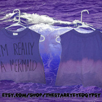 I'm Really A Mermaid Purple Grunge Cropped by TheStarryEyedGypsy