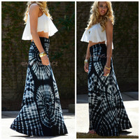 Just Beachin' Black & White Tie Dye Maxi Skirt