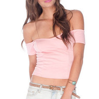 Off My Shoulders Ponti Top in Baby Pink :: tobi
