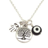 Protection Charm Necklace with Tree of Life by charmeddesign1012