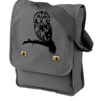 Cute Owl Messenger Bag Gray Canvas Messenger Owl Bag Field Bag Lapt...... | bagnabitbags - Bags & Purses on ArtFire