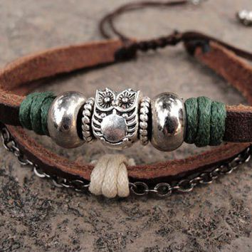 Owl silver beads leather bracelet, owl bracelets | eyongs - Jewelry on ArtFire