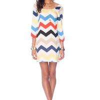 Nena Zig Zag Dress in Ivory Multi :: tobi