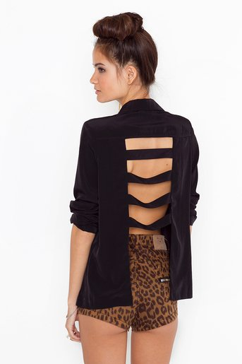 Caged Back Blazer in Collections Back Details at Nasty Gal