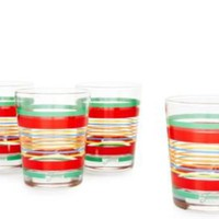 One Kings Lane - Fiesta - Set of 4 Tumblers, Multi Stripe