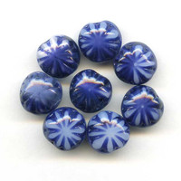 Variegated Czech Glass Blue and White Tri Round by picklevalentine