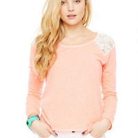 Lace Shoulder Pullover -