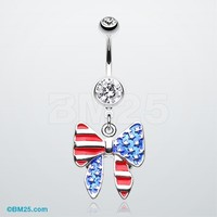 American Patriot Bow-Tie Belly Button Ring