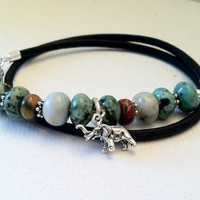 Elephant GOOD LUCK CHARM Leather Wrap by Jennasjewelrydesign