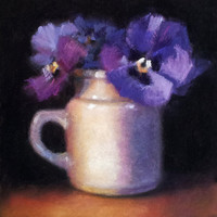 Emma&#x27;s Pansies 6 x 6 Original Pastel Painting by LittletonStudio