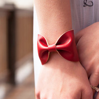 Bow Tie Cuff Bracelet Red Faux Leather Vegan Doctor Who Bowtie Scarf Wide Womens
