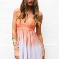 Orange and Purple Strapless Ombre Mini Dress