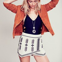 Free People Womens Tribal Embroidered Skort