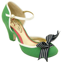 apple green bow kitten heels
