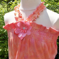 UpCycleD Girls Top or Dress Orange and Pink OOAK by BebeSophie