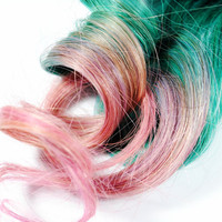 Cotton Candy / Human Hair Extension / Pink Turquoise / Long Tie Dye Colored Hair