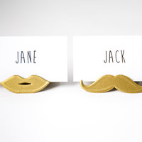 Place card holder for your wedding or any theme party Moustache and lips