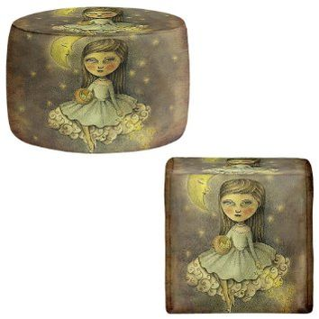Ottoman Foot Stool Pouf Round or Square from DiaNoche Designs by Amalia K. Home Decor and Unique Bedroom Ideas - With the Stars Above