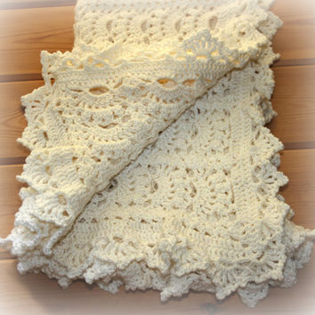 luxury handmade crochet baby blankets cashmere blend crib blanket Waterlilly white Heirloom piece Machine washable Shower gifts
