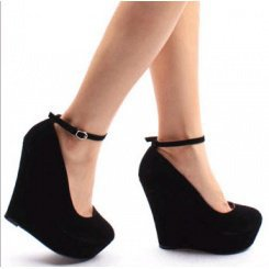 Wholesale Bandage Waterproof increased fashion shoes CZ-0476 black - Lovely Fashion