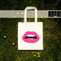 pink POLKA dot LIPS / cute pink polkadot kiss mouth pattern summer canvas beach cotton tote bag with gusset 13x13 or 15x16