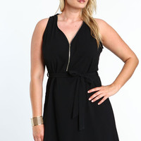 PLUS SIZE ZIP SASH TIE DRESS