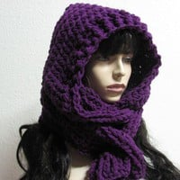 Linen Aspen Scoodie Hand Crochet Scarf Hood | byKEONA - Accessories on ArtFire